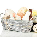 "Click here for more information about ""Spa"" baskets for tired moms and dads"